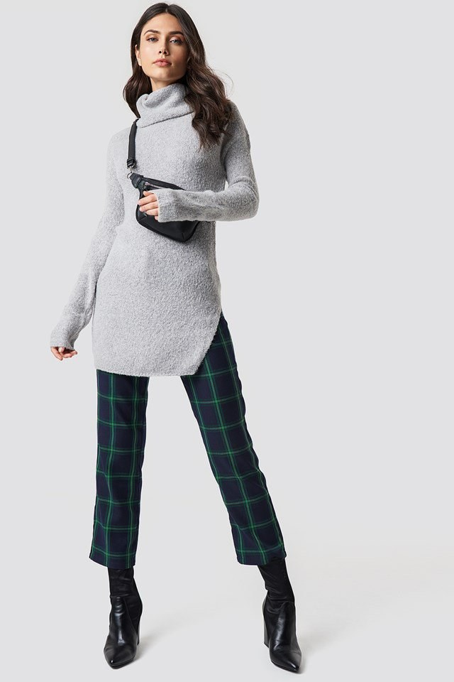 Polo Sweater and Checkered Trousers Outfit