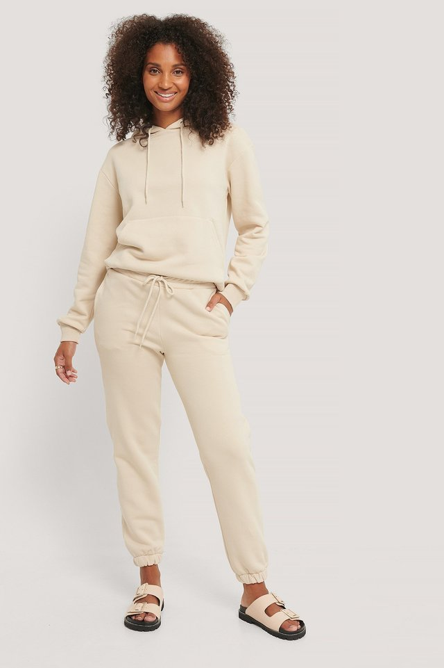 Organic Brushed Drawstring Sweatpants Outfit.