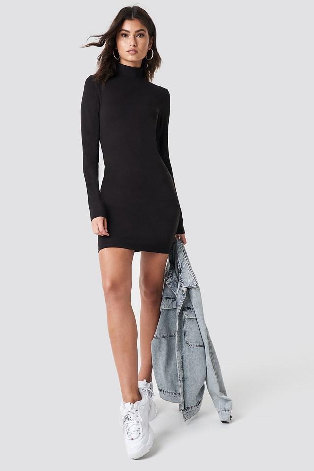 The Trendy High Neck Dress Look
