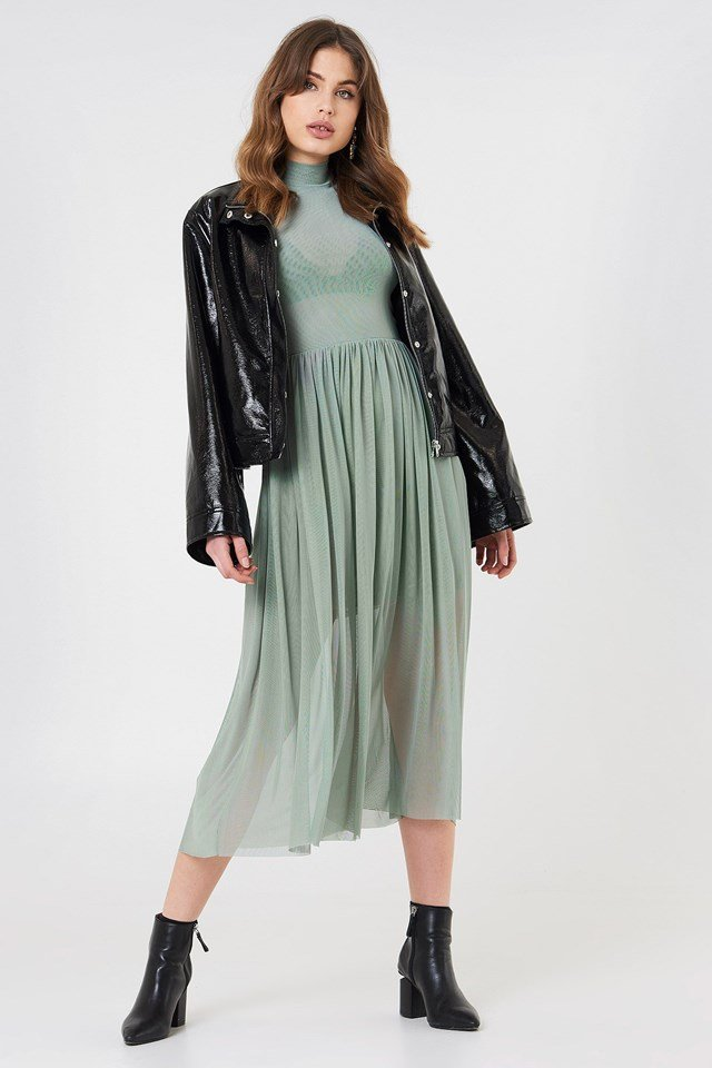 The Midi Dress and Leather Jacket Look