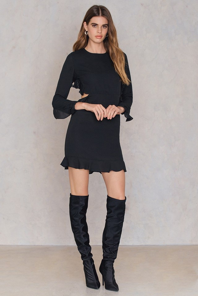The Classy Black Mini Dress and Overknee Boots Look