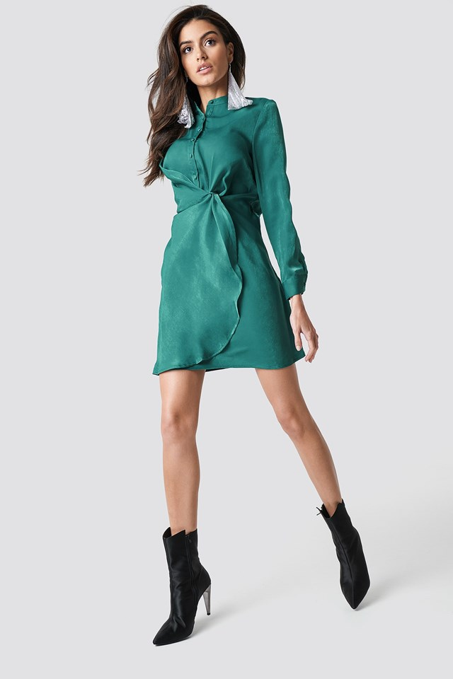 The Draped Shirt Dress and Ankle Boots Look