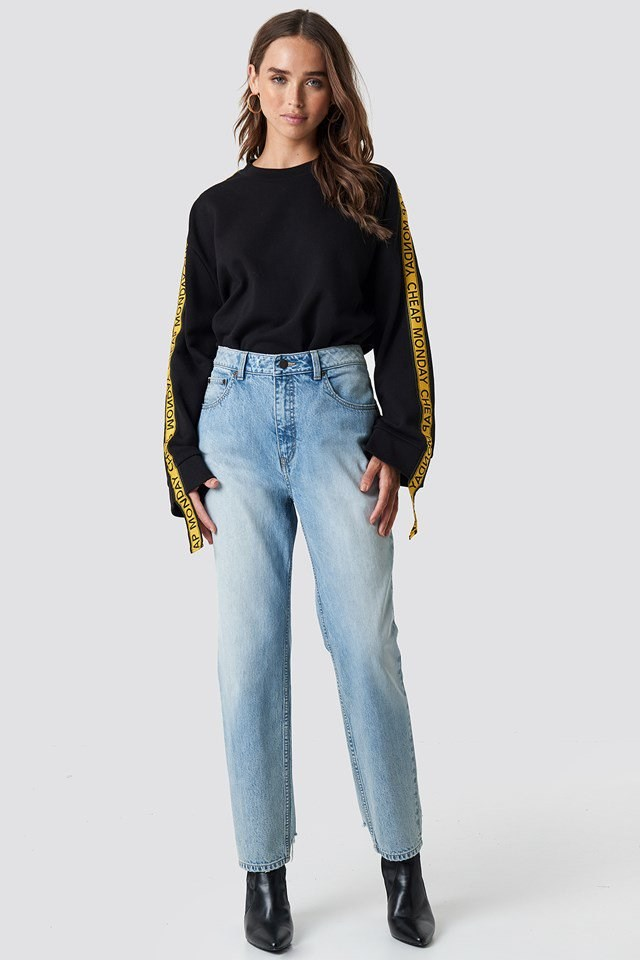 Casual Denim Pants and Black Sweater Outfit