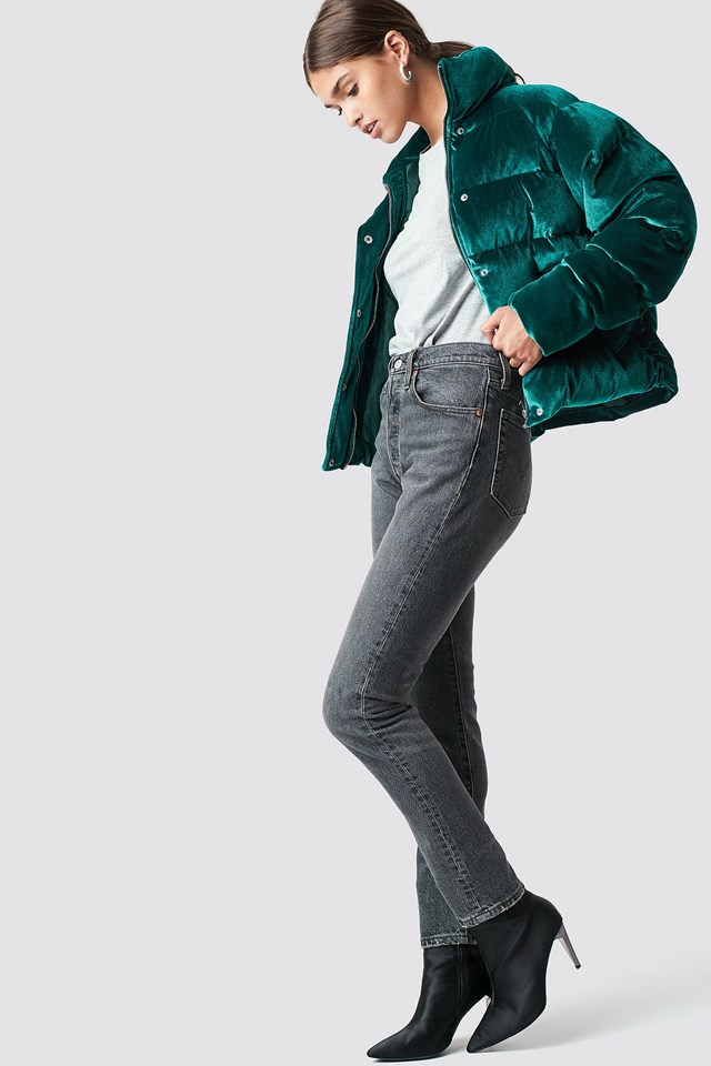 Puffy Velvet Jacket Outfit