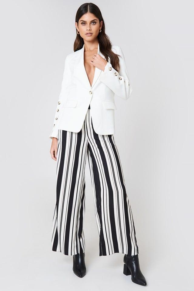 White Blazer with Striped Pant