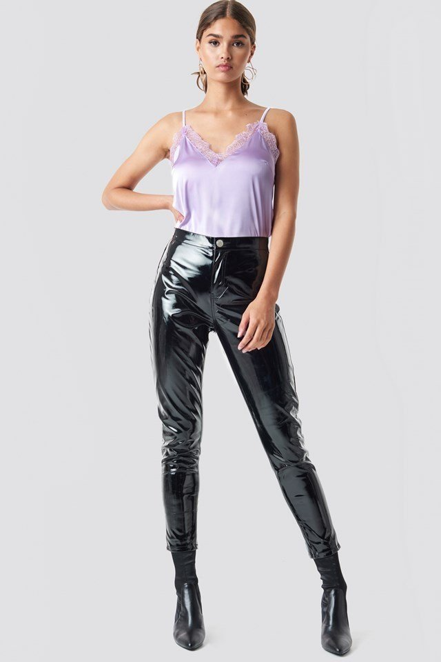Satin and PU Pants Party Outfit