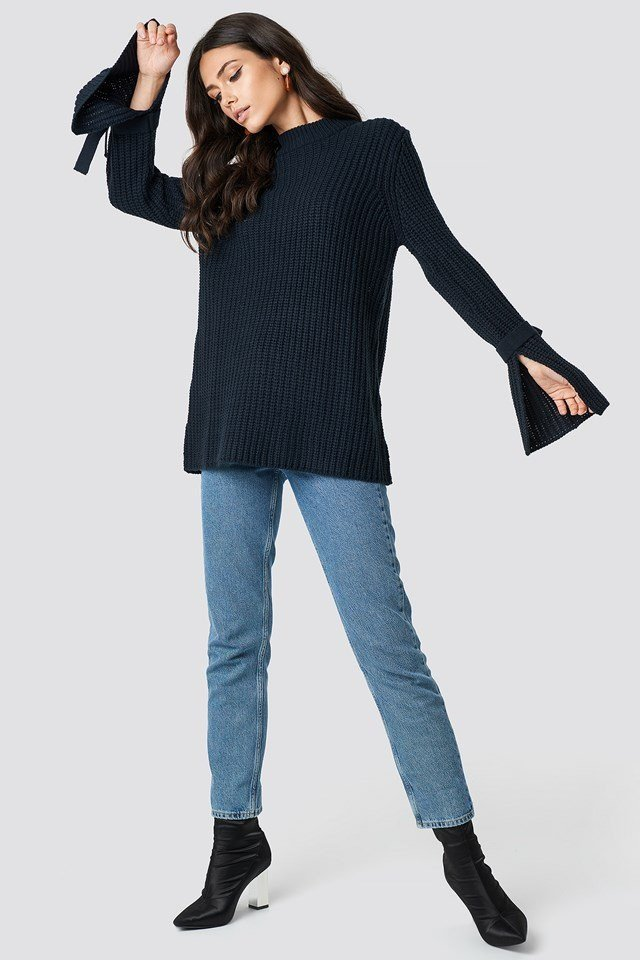 Black Knit and Denim Outfit