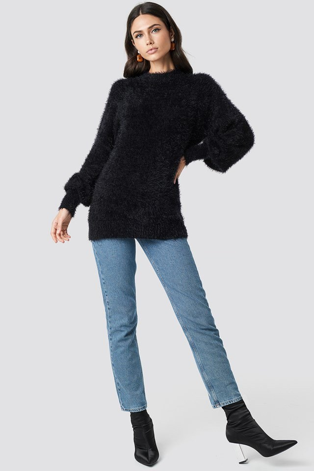 Black Feather Denim Outfit