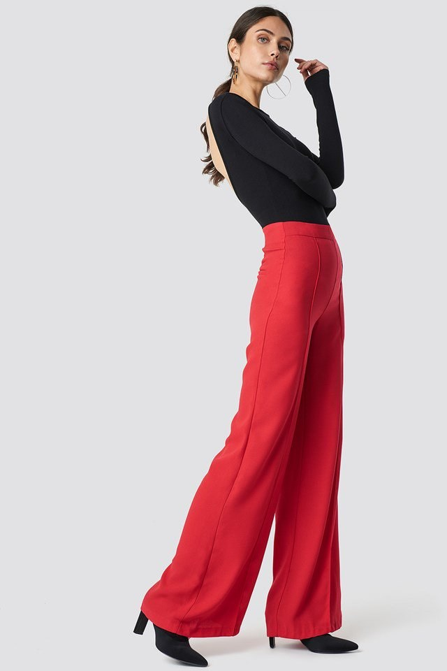 High Waisted Wide Leg Pants with Deep Back Long Sleeve Top