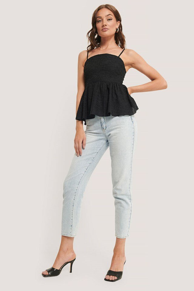 Black Open Back Structured Top