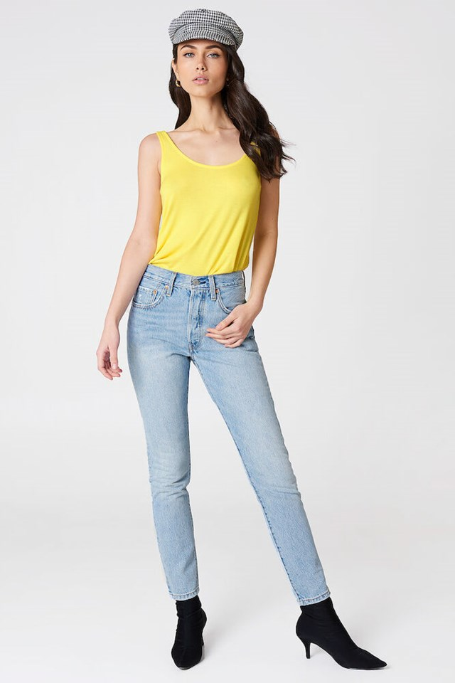 Light Yellow Ribbed Low Back Tank Top