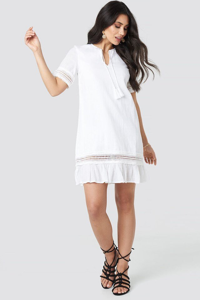 White A-line Crochet Dress