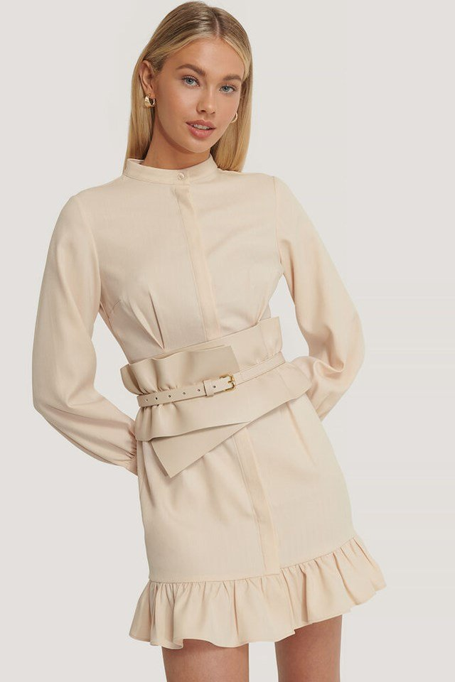 Balloon Sleeve Frill Mini Dress Outfit.