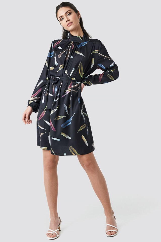 Balloon Sleeve Tied Waist Printed Dress Outfit.