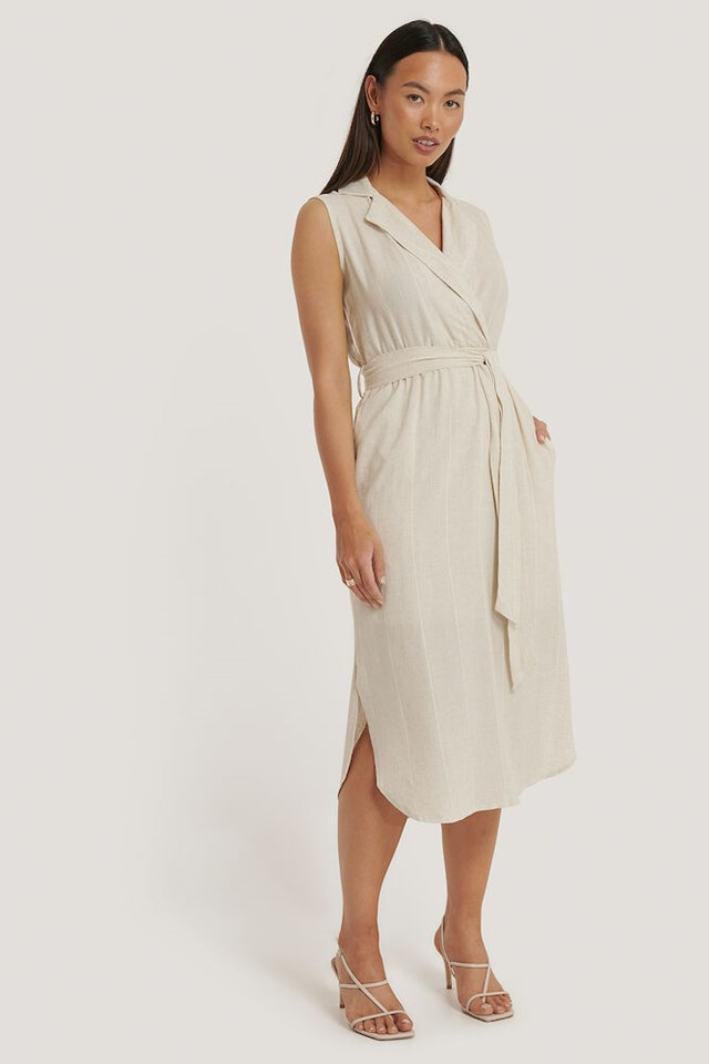 Belted Double-Breasted Collar Dress Outfit.