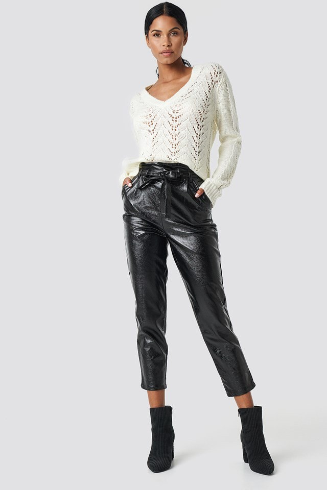 White Knit and Black Leather Outfit