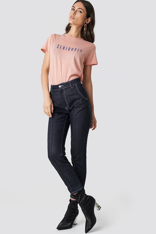 Basic Tee Detailed Denim Outfit