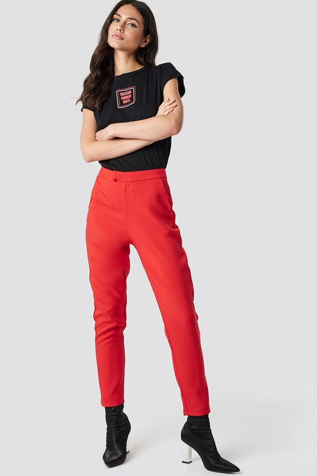 Black and Red Pants and Tee Outfit