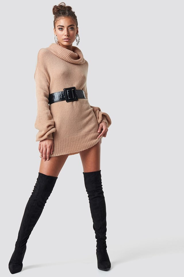 Long Sweater and Over Knee Boots Outfit