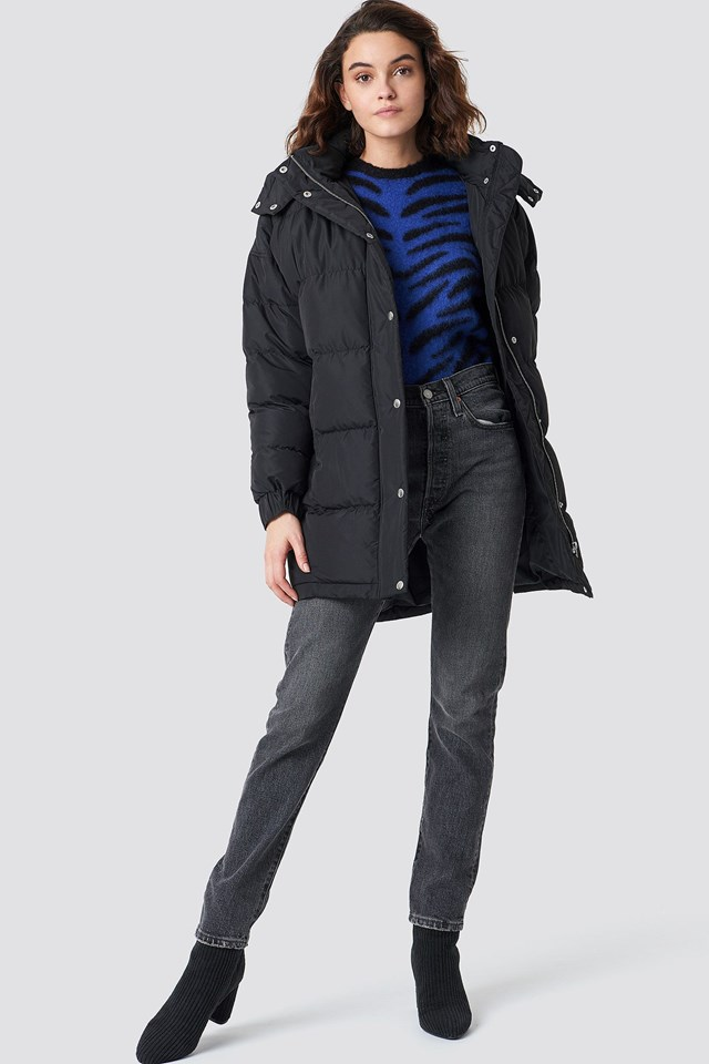 Long Puffy Jacket and Ankle Boots Outfit