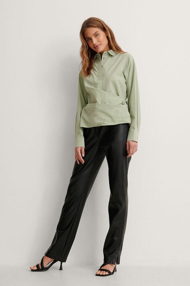 Green Organic Wrap Detail Button Up Shirt