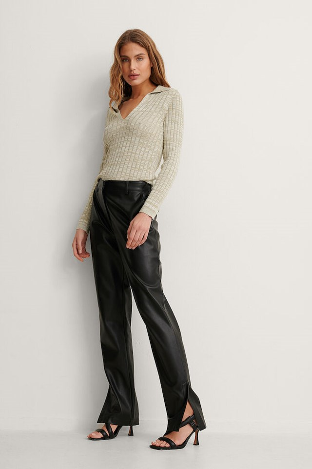 Rib Knit Long Sleeve Top Outfit!