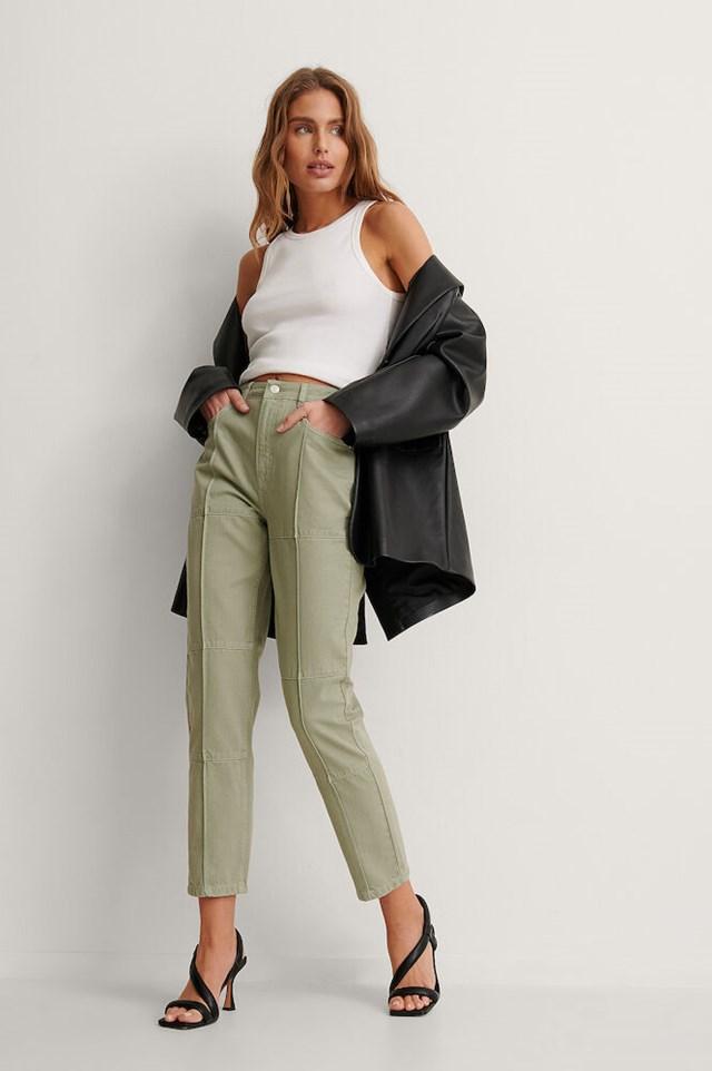 High Waist Detail Seam Denim Outfit!