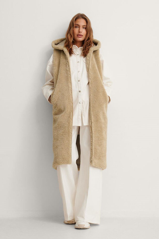 Long Teddy Vest Outfit.