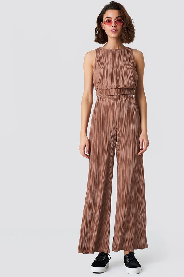 Pleated Wide Pants and Pleated Cropped Top