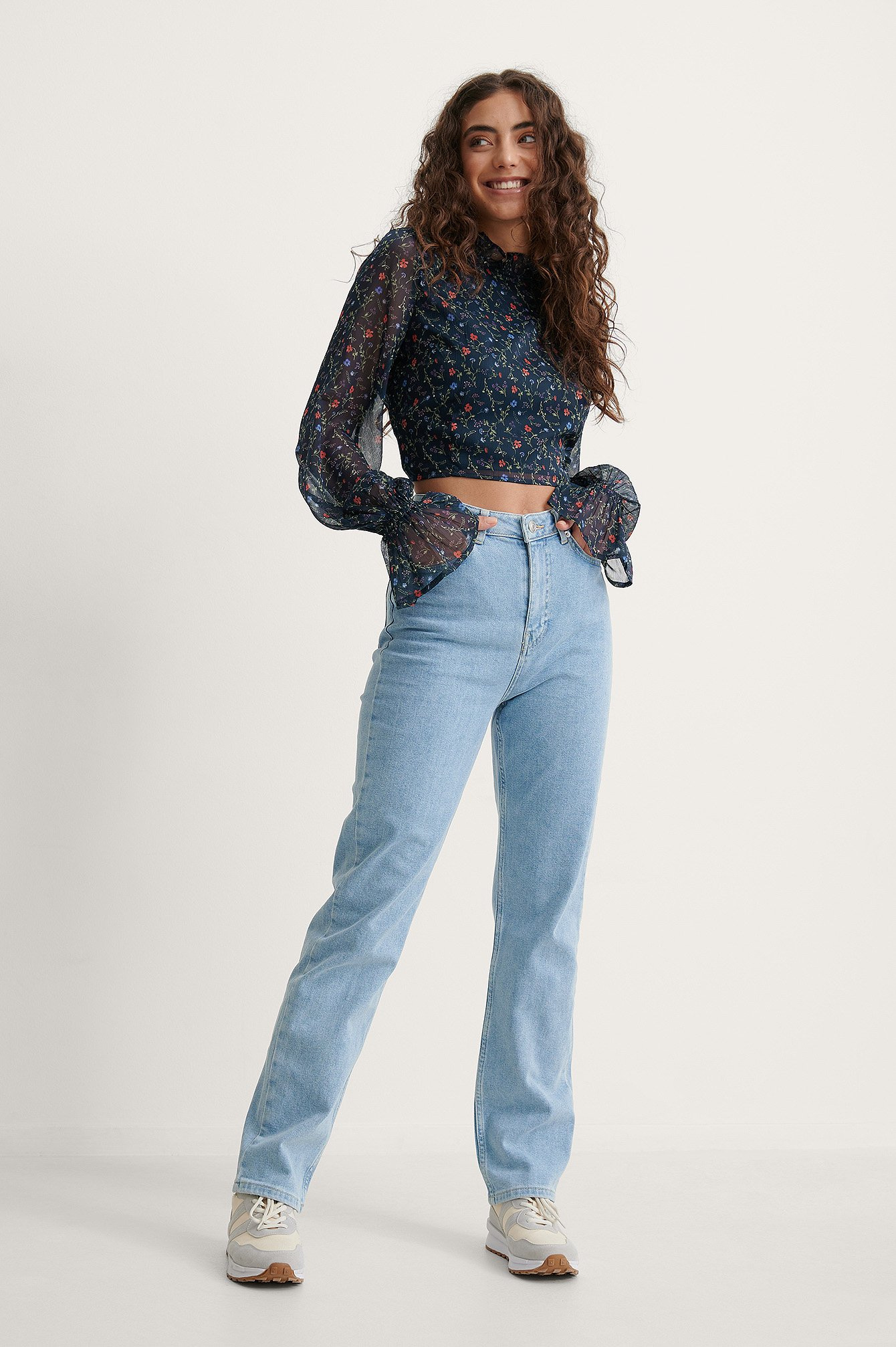 Melissa Light Wash Straight Jeans Outfit.