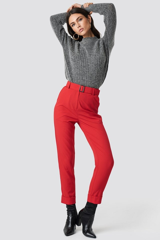 Grey Knit X Red Pant Outfit