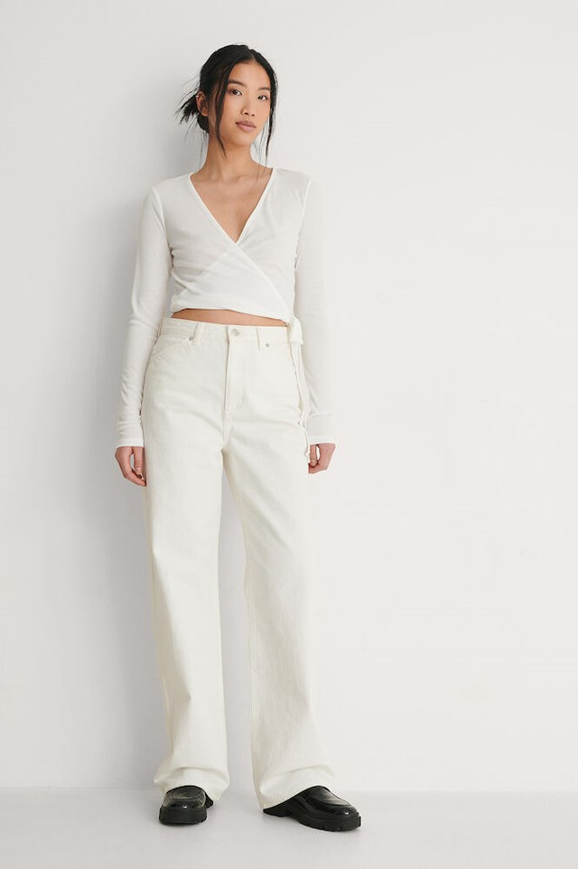 Recycled Ribbed Wrap Top Outfit