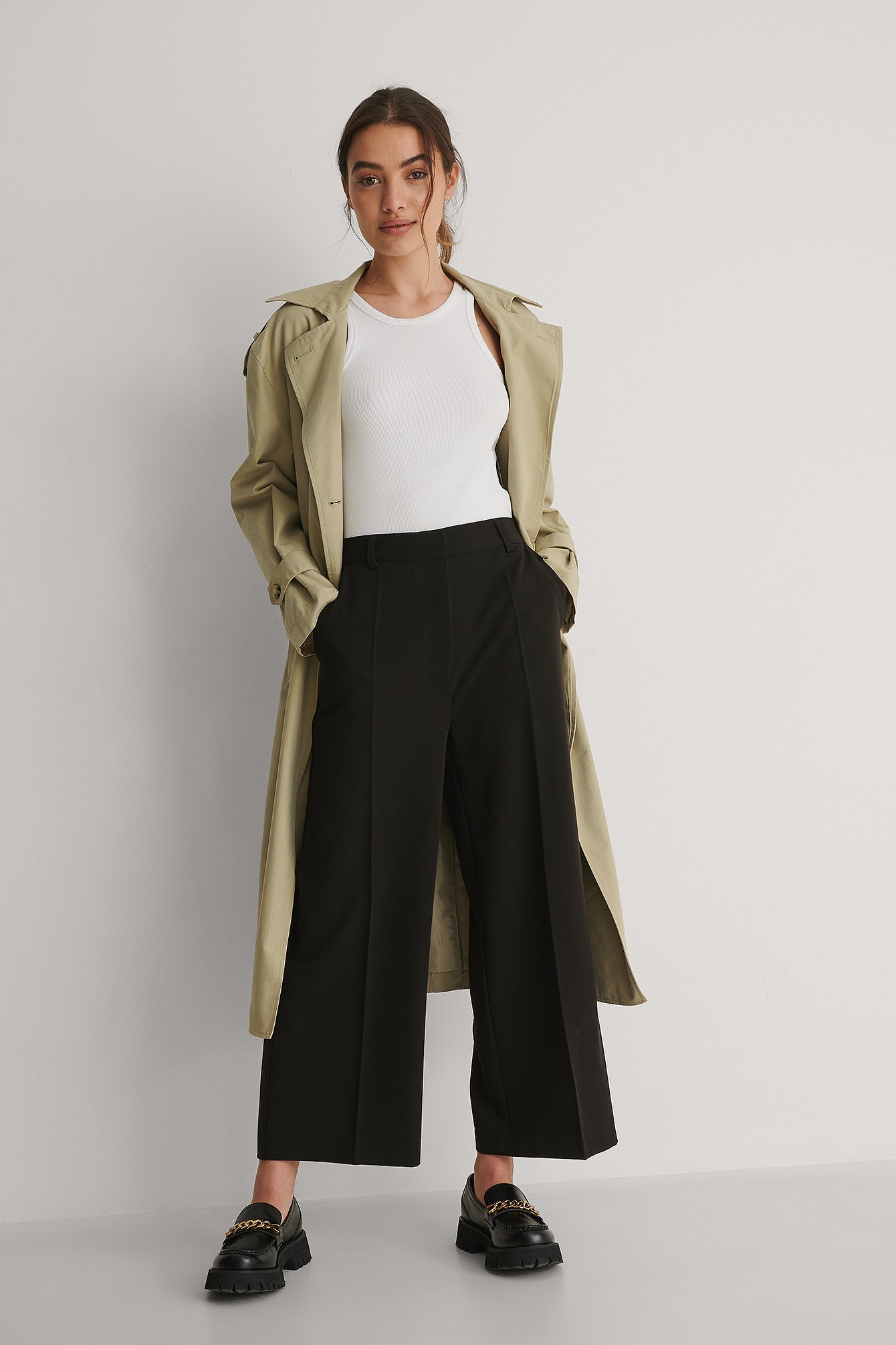 Black Tailored Culotte Pants