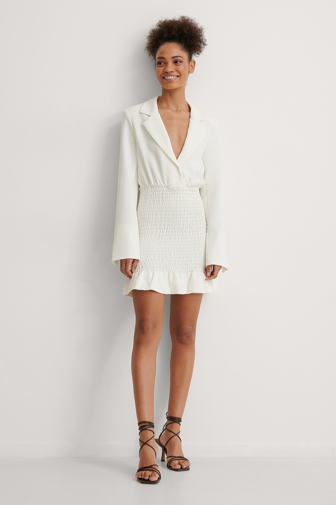 NA-KD Smock Detail Blazer Dress Outfit