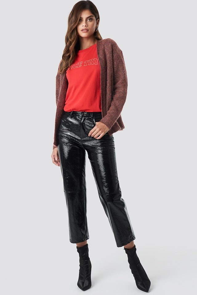 Red Knit X Leather Pant Outfit
