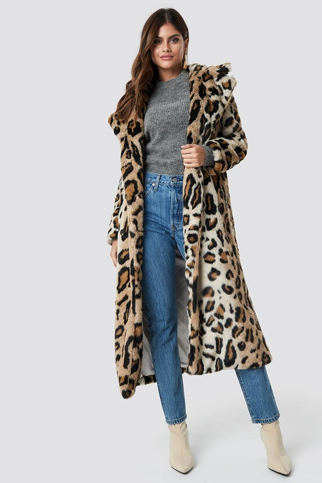 Grey Knit Leo Fur Coat Outfit