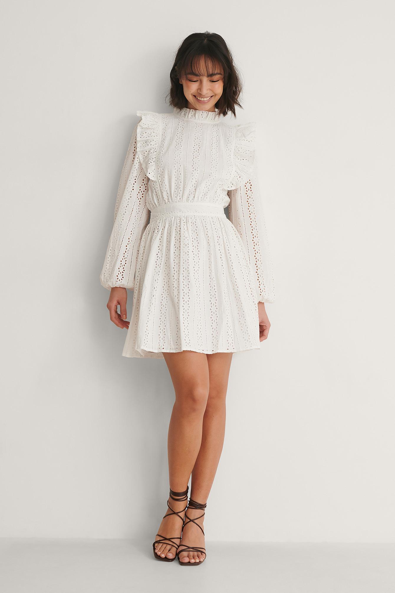 Floral Crochet Midi Dress Beige | na-kd.com