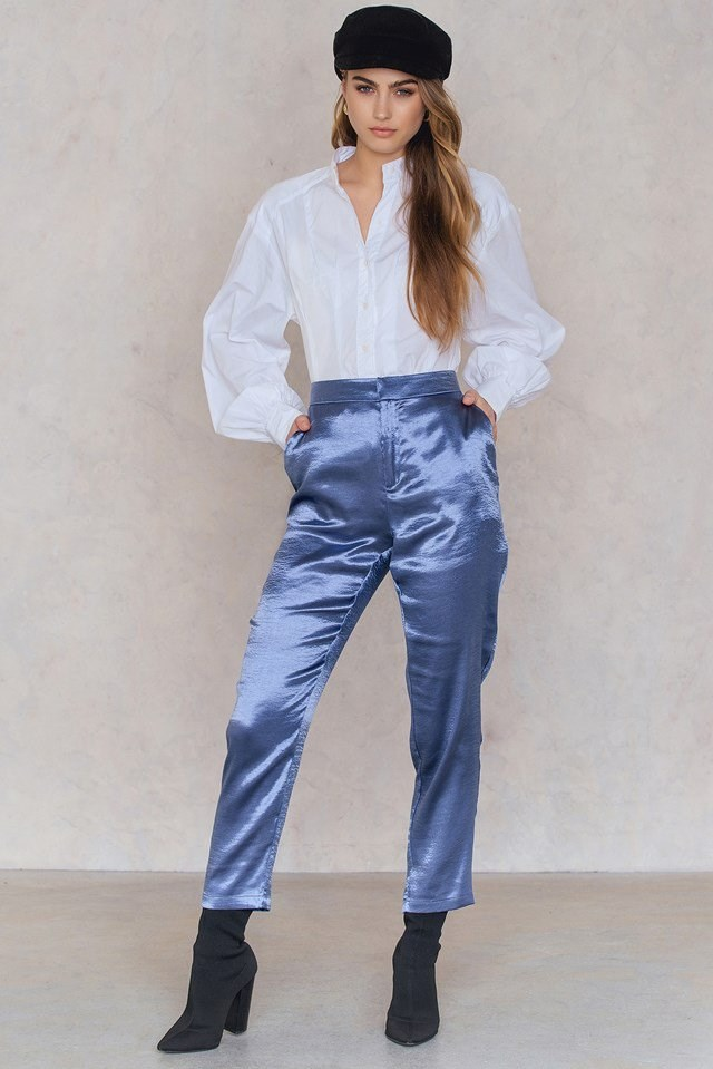 Metallic Straight Pants