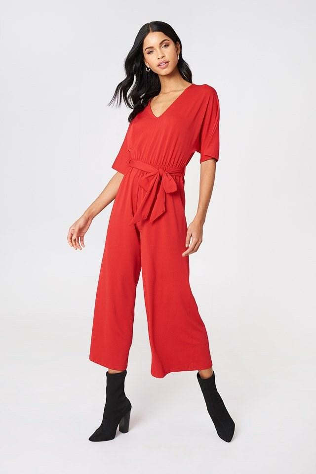 V-Neck Wide Sleeve Jumpsuit