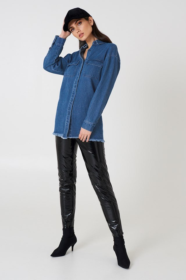 Denim raw Hem Shirt