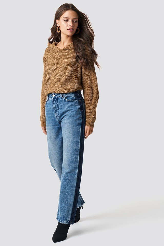 Knitted Hoodie Denim Outfit