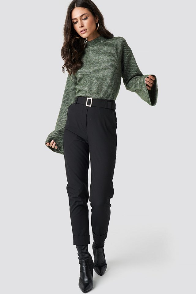 Green Knit Black Pant Outfit