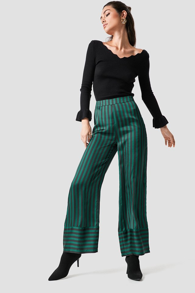 Frilled Top Striped Pant Outfit