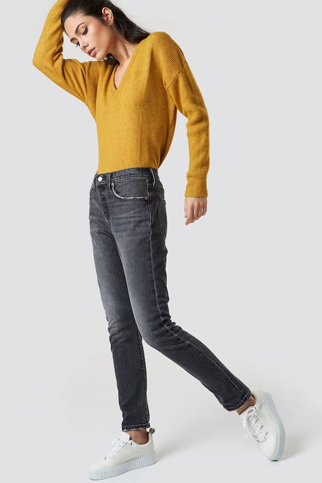 Yellow Knit and Denim Outfit