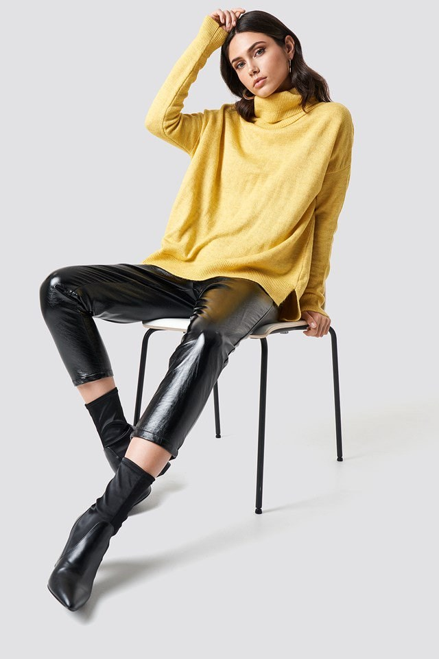 Yellow Turtleneck and Leather Outfit