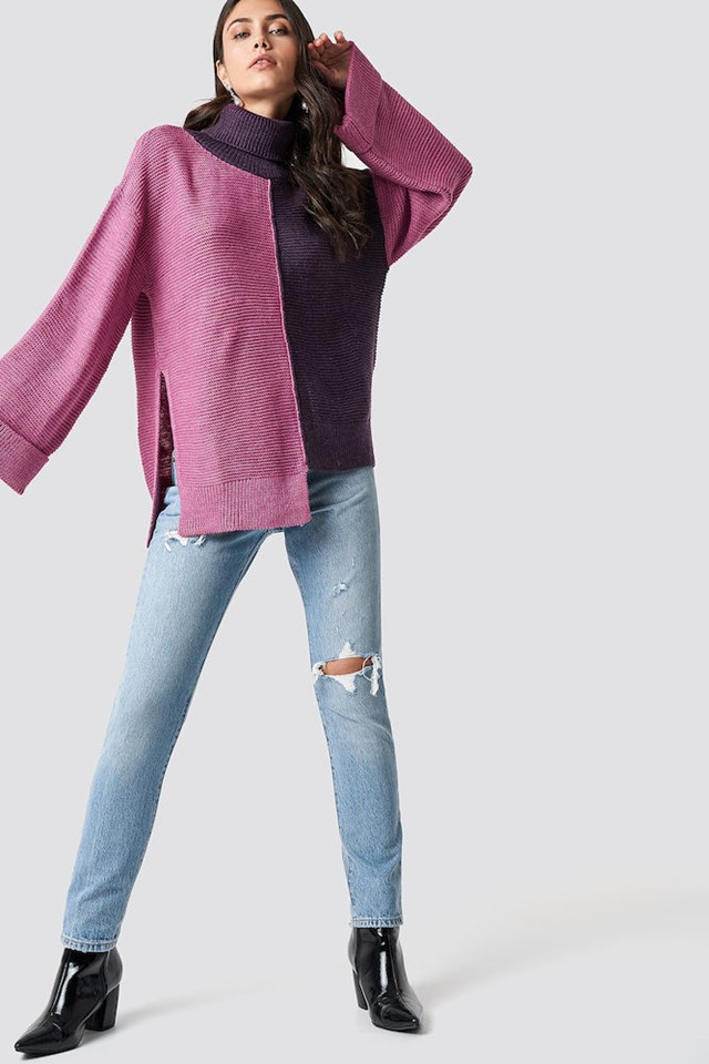 Half and Half Pink Denim Outfit