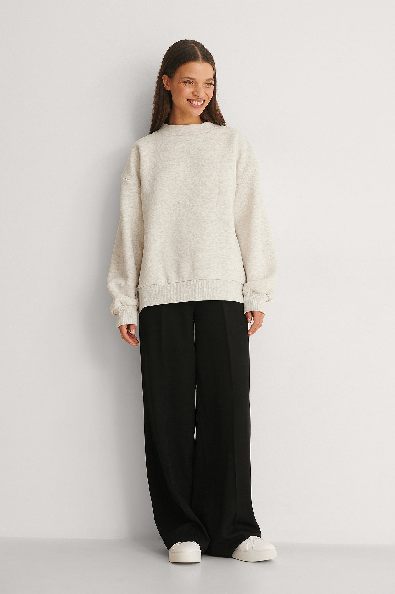 High Neck Detail Sweatshirt Outfit.