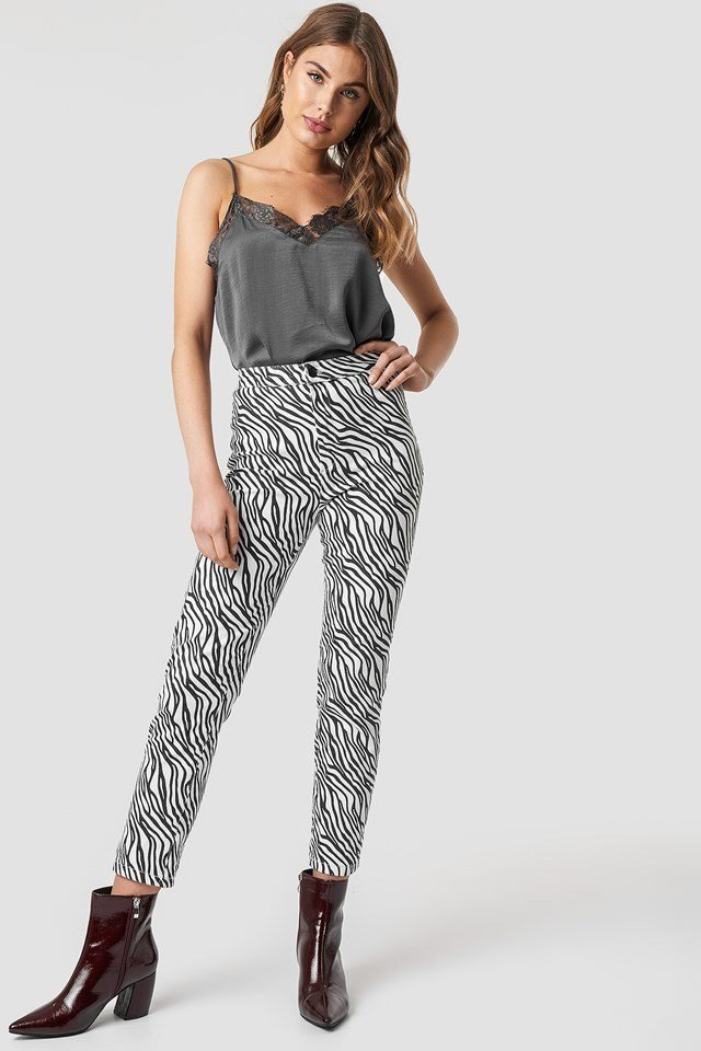 Grey Singlet and Zebra Pant Outfit