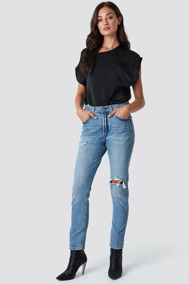 Shiny Top and Denim Outfit