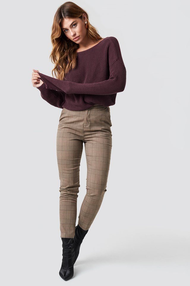 Deep V Knit and Neutral Pant Outfit
